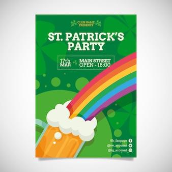 Flat design st. patricks day flyer template
