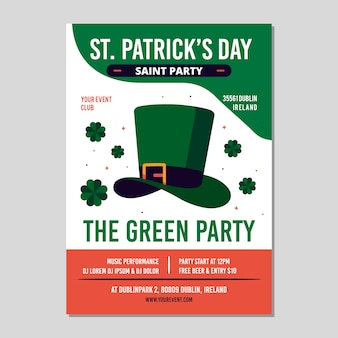 Flat design of st. patricks day flyer template