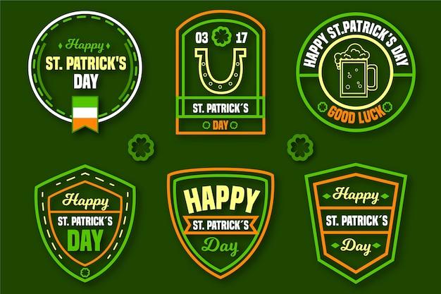 Flat design st. patricks day label collection concept