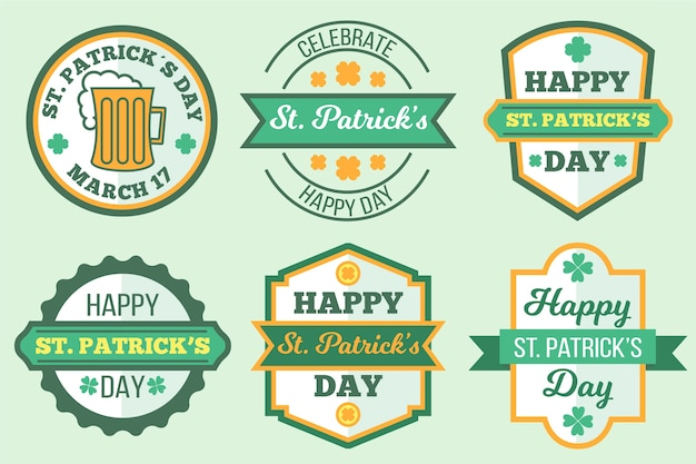 Flat design st. patricks day label collection design