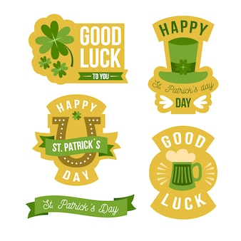 Flat design st. patricks day label collection