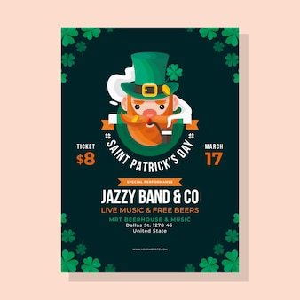 Flat design st. patricks day poster template