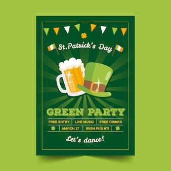 Flat design st. patricks day poster template