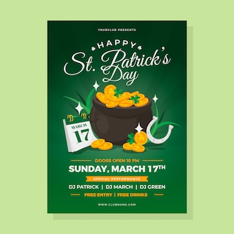 Flat design st patricks day poster template