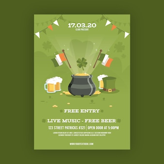 Flat design st. patricks poster template theme