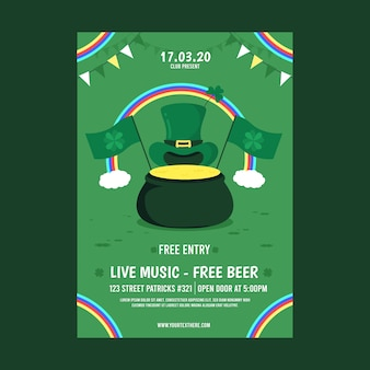 Flat design st. patricks poster template