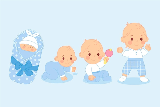 Flat design stages of a baby boy collection