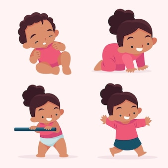 Flat design stages of a baby girl illustration