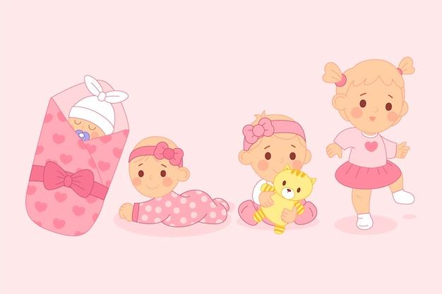 아기 소녀 컬렉션의 평면 디자인 단계