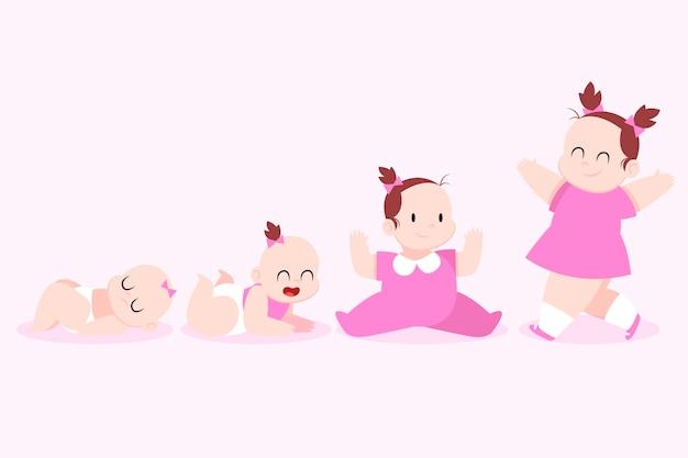 女の赤ちゃんのフラットなデザインステージ