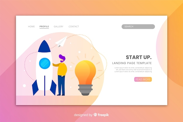Flat design of a start up landing page