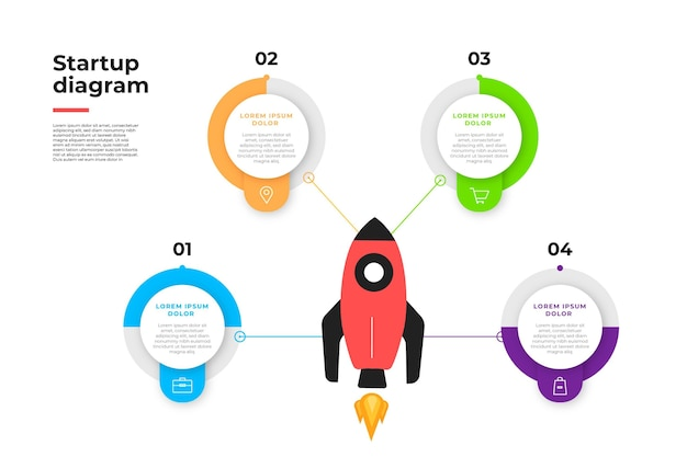 Flat design startup infographic collection