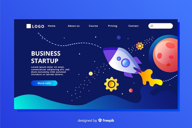 Flat design  startup landing page with spaceship