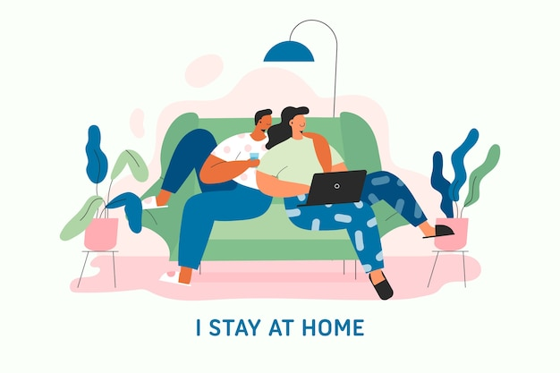 Flat design stay at home concept