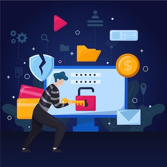 Плоский дизайн концепция кражи данных