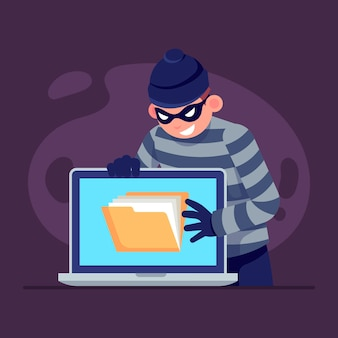 Flat design steal data illustration with thief and laptop