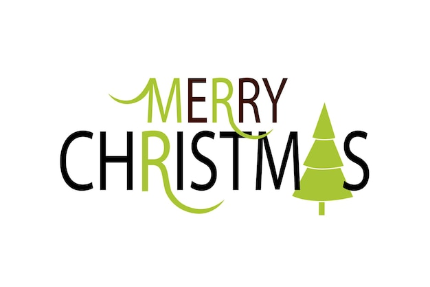 Flat design stlye christmas card lettering  merry christmas with christmas tree inspirational