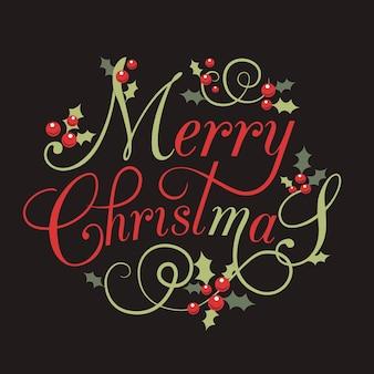 ヒイラギの葉とベリーのフラットなデザインのstlyeクリスマスカードレタリングメリークリスマスベリー