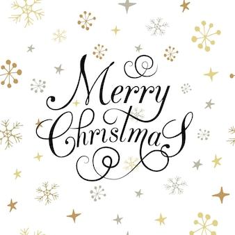 雪片と星が付いたフラットなデザインのstlyeクリスマスカード。レタリング「メリークリスマス」。心に強く訴えるベクトルタイポグラフィ。クリスマステンプレート。メリークリスマスのチラシ、バナーまたはポストカード