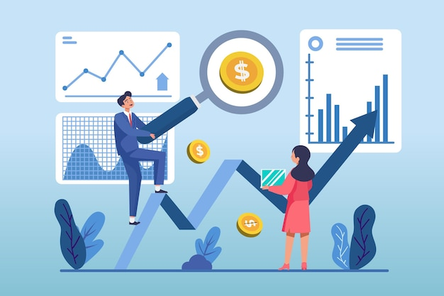 Flat design stock market analysis illustration