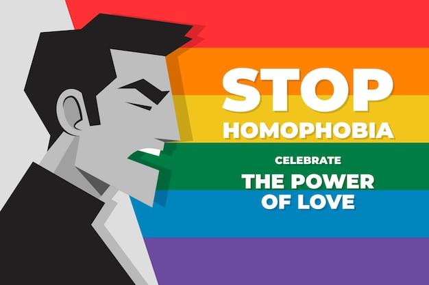 평면 디자인 중지 동성애 공포증 개념 그림