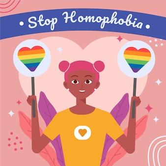 평면 디자인 중지 동성애 혐오 퀴어 여자
