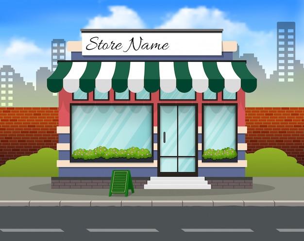 이름을위한 장소를 가진 편평한 디자인 상점 정면