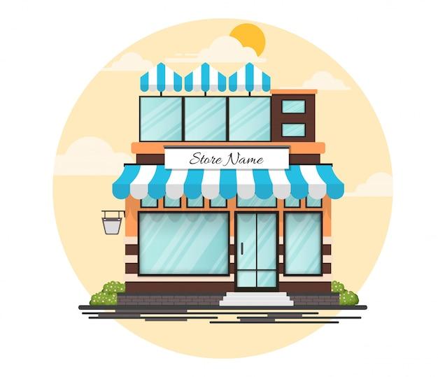 상점 이름을위한 장소를 가진 평면 디자인 상점 정면