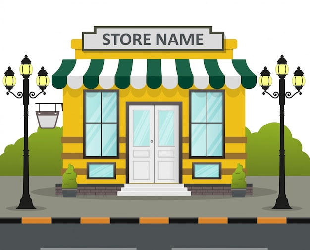 Flat design store front with place for store name