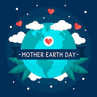 Flat design style background mother earth day