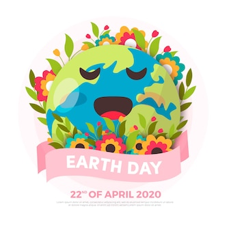 Flat design style mother earth day background