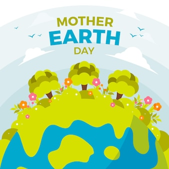 Flat design style mother earth day wallpaper
