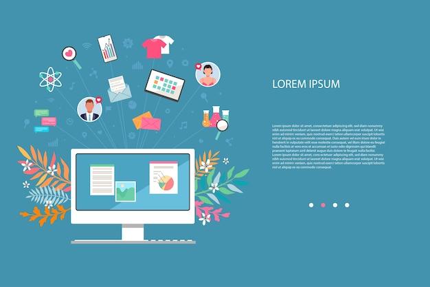 フラットなデザインスタイルのソーシャルメディアとネットワーク。人と人とのつながり、ウェブ検索。