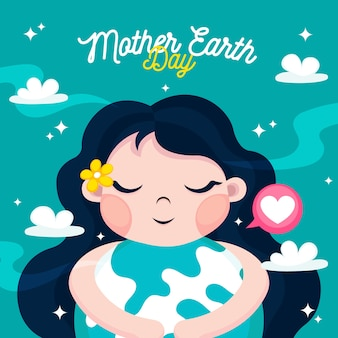 Flat design style wallpaper mother earth day