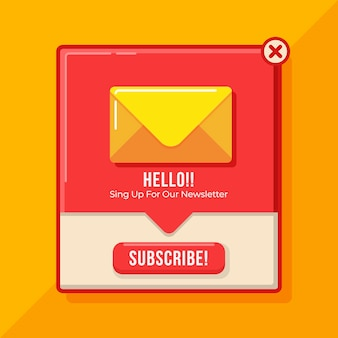 Flat design subscribe pop up