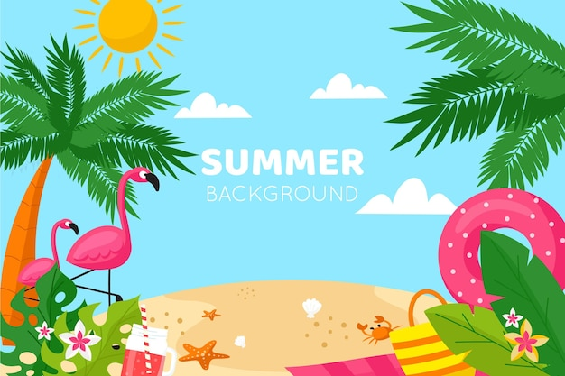 Flat design summer background with beach
