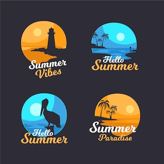Flat design summer badges collection