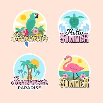 Плоские летние значки дизайна