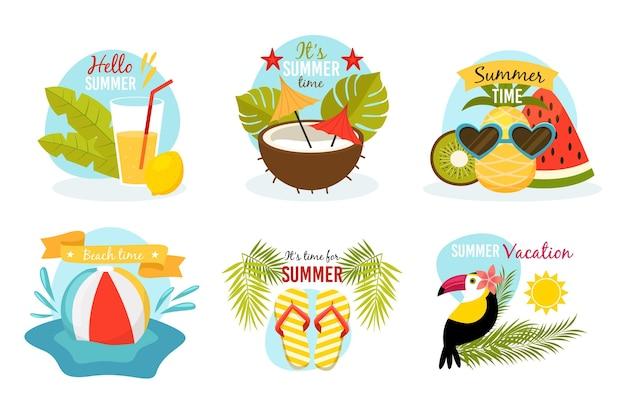 フラットなデザインの夏のバッジ