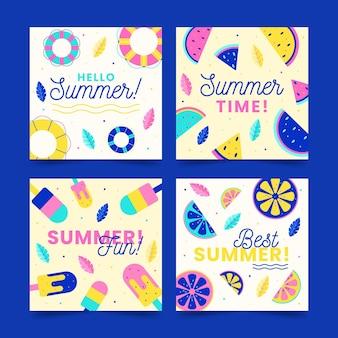 フラットなデザインの夏のカードと思い出のセット