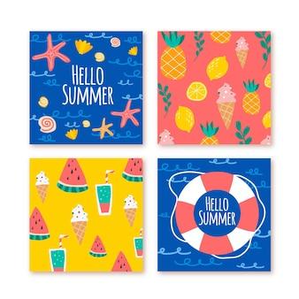 Flat design summer card collection template