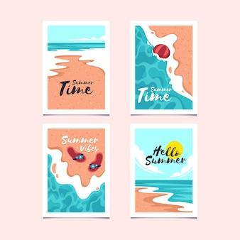 Плоский дизайн коллекции летних карт