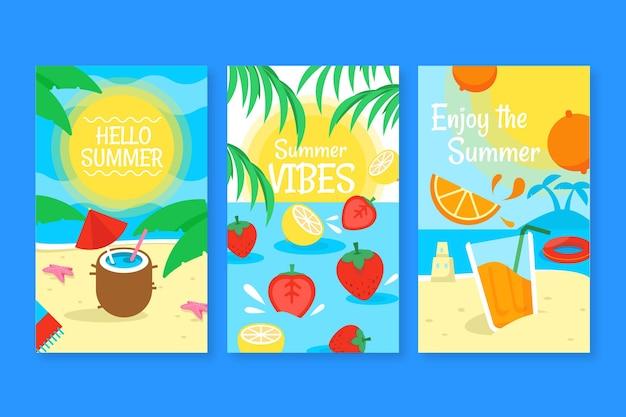 평면 디자인 여름 카드 팩 템플릿