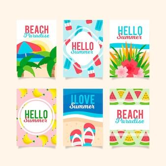 Плоский дизайн коллекции летних открыток
