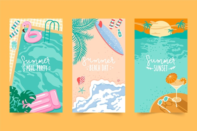 Flat design summer cards collection