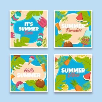 Плоский дизайн летних карт