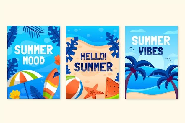 Набор плоских летних карточек