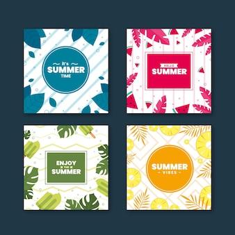 Плоский дизайн летних открыток