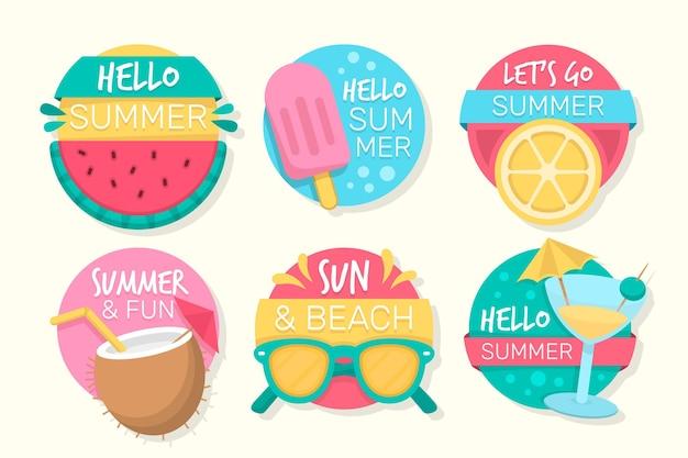 フラットなデザインの夏ラベルコレクション
