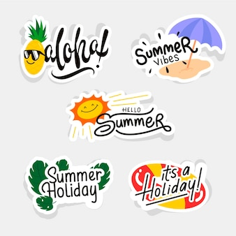 Flat design summer labels collection